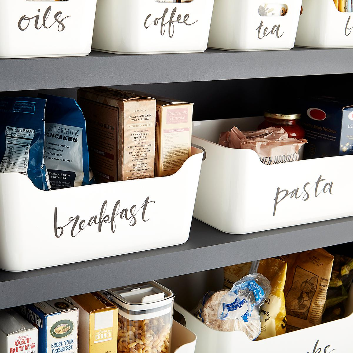 Budget-friendly: white storage bins