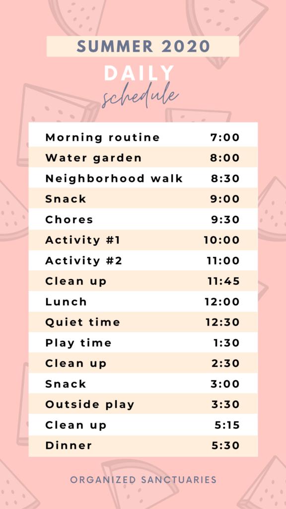Organized daily schedule