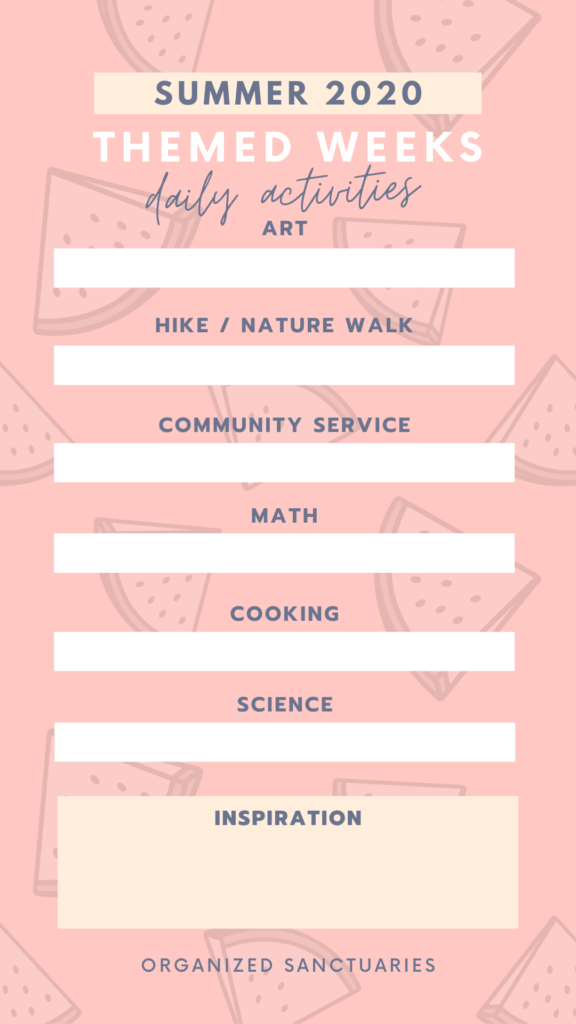 Organized summer weekly activities